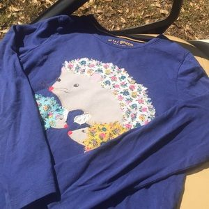 Mini Boden long sleeve appliqué hedgehog